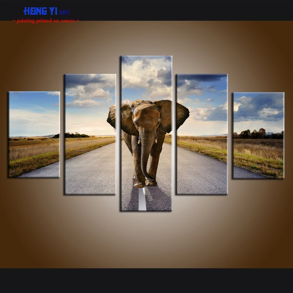 Grand Mur Art Contemporain 5 Panneau Décor À La Maison Impression Sur Toile Peinture Mur Art Moderne Animal Éléphant Paysage Image pour le Salon Décor