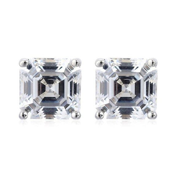 AINUOSHI Brand Sparkling Square Stud Earring Asscher Cut Sona Diamond Pure 925 Sterling Silver Shining Earring Lady Jewelry Gift S18101206