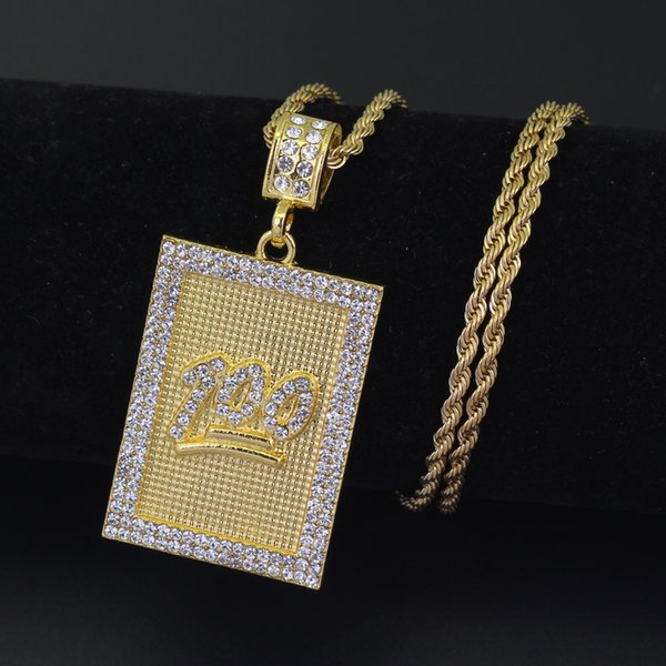 3mm 24inch Stainless Steel Rope Chain 100 Pendant Necklace Fashion Jewelry Bling Bling N670