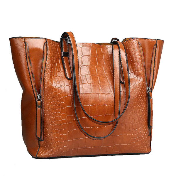Women Crocodile Pattern Big Bag 2018 New Fashion Luxury Handbag Desigener Large Tote Bag Female Bucket Shoulder Shopping