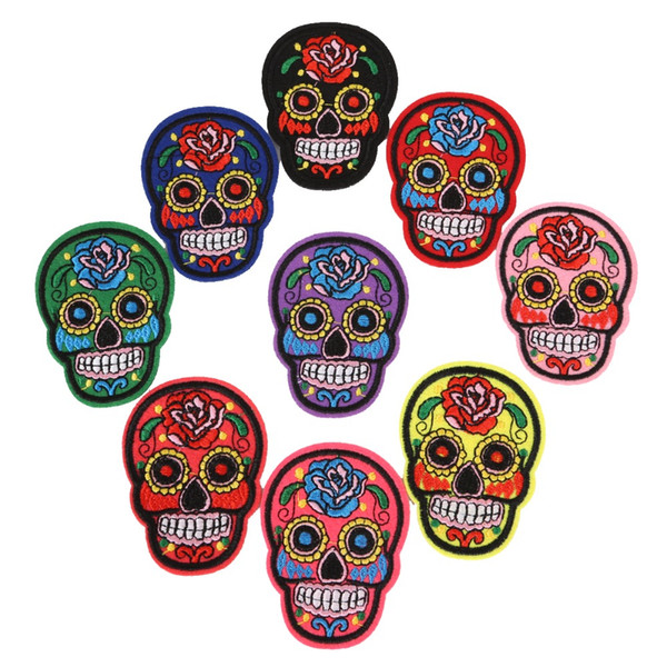 11pcs/set Rose Skull Embroidered Iron On Patches for Clothing Bags DIY Motif Appliques Apparel Accessories Fabric Badges