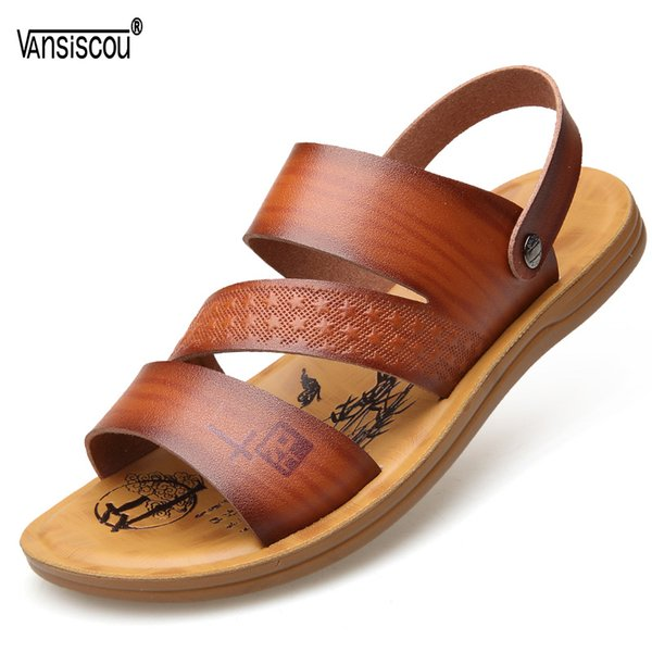 VANSISCOU Men Fashion Sandals 2018 New Arrivel Summer Soft Comfy Leather Beach Sandals Breathable Open Toe Male Slippers