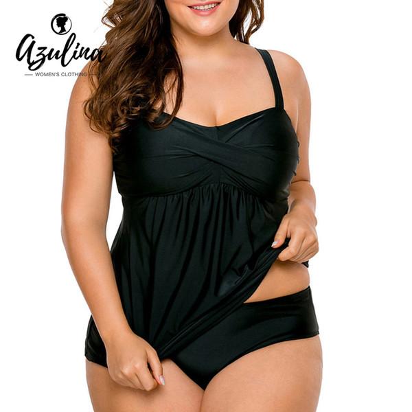 AZULINA Plus Size Twist Zweiteiler Sommer Beachwear Spaghetti-Trägern Cami Top Höschen Micro-Elastische Frauen Set Badeanzug