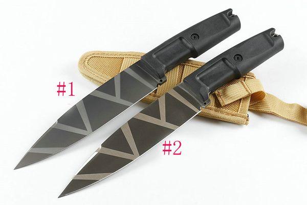 Высокое качество открытый выживания прямой нож 8Cr13MoV Титана с покрытием лезвия ABS резиновая ручка фиксированным лезвием ножи с нейлоновой оболочкой