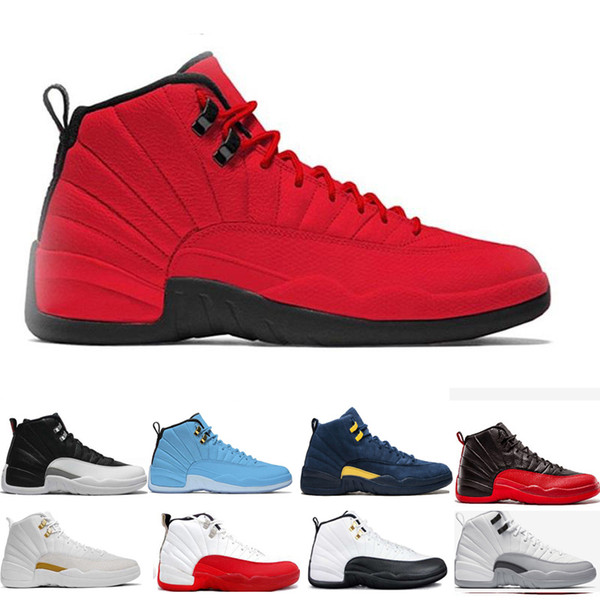 cheap 2019 black white basketball shoes 12 12s men women Playoffs gym red College navy Bulls Flu Game taxi gamma blue sport sneakers