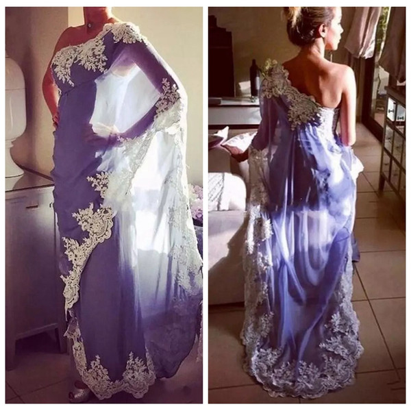 2019 One Shoulder Lace Appliques Moroccan Kaftan Evening Dresses long High Quality Customized Abaya Dubai Muslim Formal Prom Party Dress