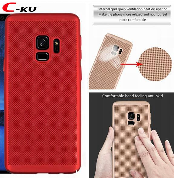 Mesh Dots Hard PC Case For Samsung Galaxy S9 Plus A8 2018 Redmi NOTE4 NOTE 4X Woven Breathable Plating dot Cell Phone Back Skin Cover 20pcs