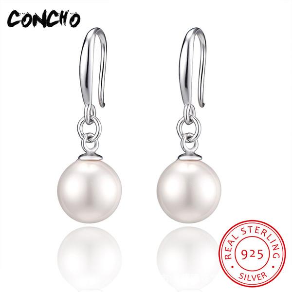 Concho Takı Kadınlar Için 925 Ayar Gümüş Geometrik Inci Damla Küpe Düğün Parti Hediyeler 2018 Promosyon Moda Küpe