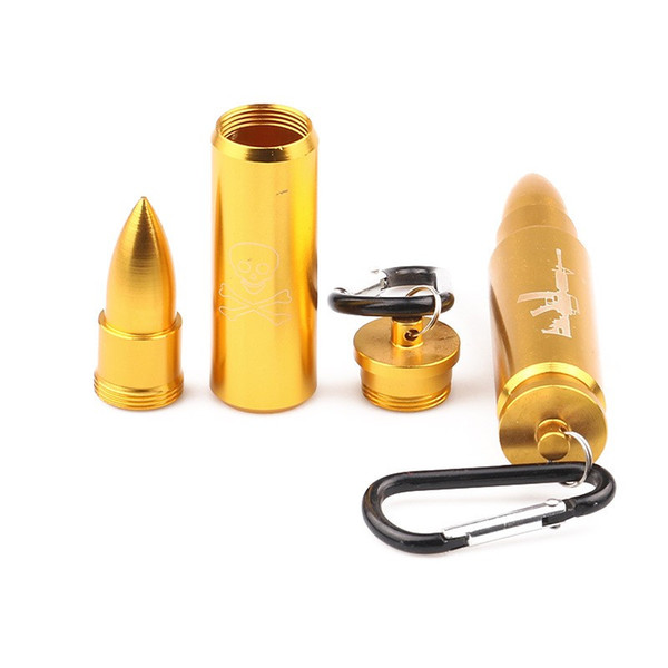 Metal Bullet Pendant Tablet Pill Box Holder Advantageous Honey Container Medicine Case With Key-chain Waterproof Stash Case Tube