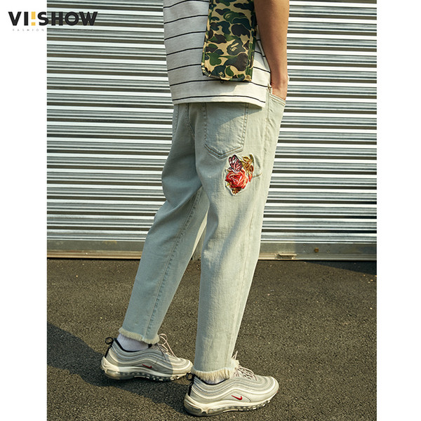 VIISHOW Hot Sale 2018 Summer Jeans Men Cotton Trousers Pants Vintage Embroidery and Moustache Effect Brand Clothing NC1715182