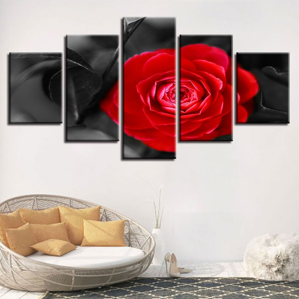 Modular Home Decor 5 Pieces Red Flower Paintings HD Prints Rose Poster Canvas Pictures For Warm Living Room Wall Art Framework