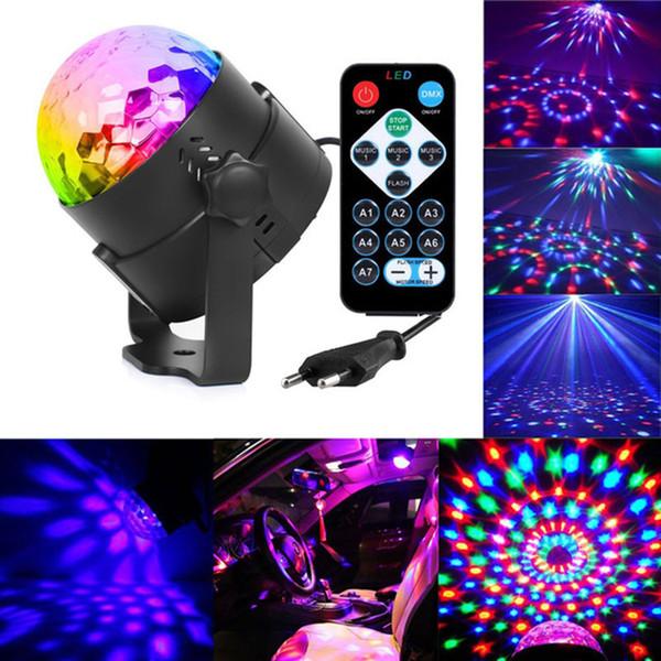 3W Mini RGB Bola mágica de cristal Activada por sonido de bola de discoteca Lámpara de escenario Lumiere Christmas Laser Projector Dj Club Party Show de luces