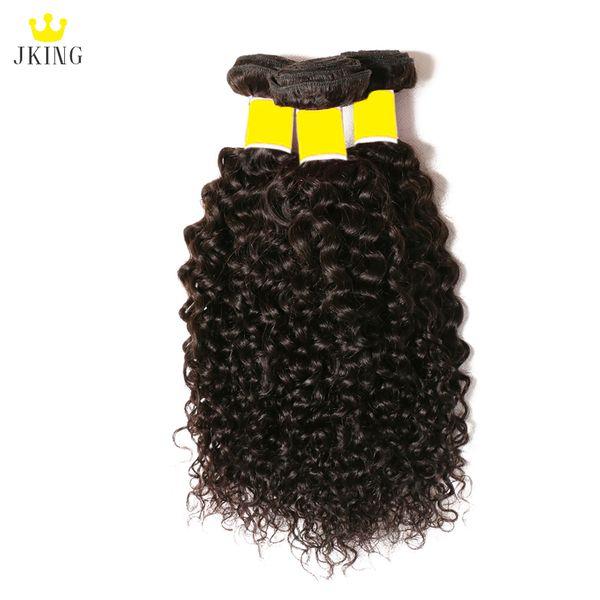 JKING 8A Brazilian Virgin Hair Kinky Curly 3 Bundles 100% Unprocessed Peruvian Indian Malaysian Curly Human Hair Weave Bundles Natural Color