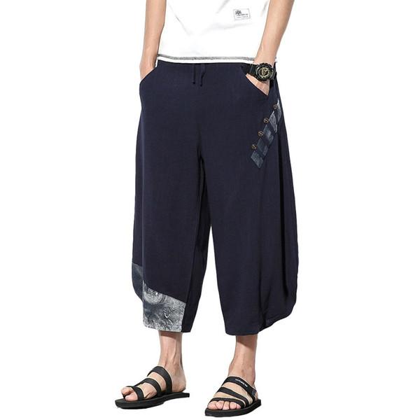 Mens Casual Hosen Baumwolle Leinen lose große knöchellangen Hosen Sommer chinesischen japanischen Stil männlich Japan Harajuku Cross-Hose Hosen M ~ 5XL