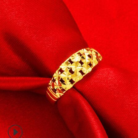 Luxury Jewelry Designer Couple Rings Gold Color Stars Hollow Out