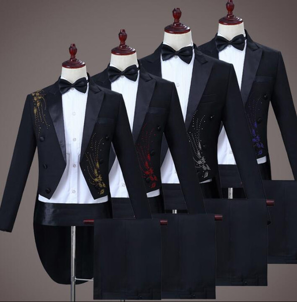 Blazer men latest coat pant designs marriage Tuxedo suit men homme terno masculino trouser wedding suits for men's singer stage