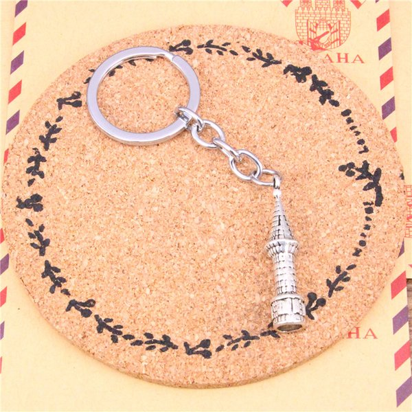 Keychain castle spire Pendants DIY Men Jewelry Car Key Chain Ring Holder Souvenir For Gift