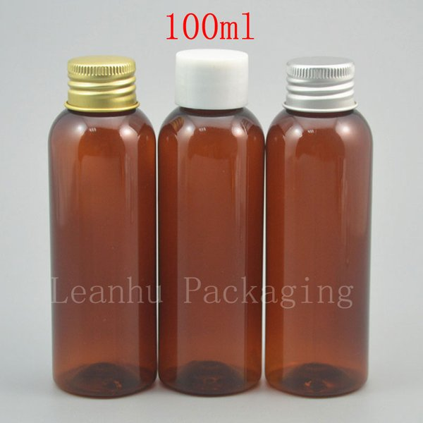 100ml x 50 empty brown plastic bottle with white / gold / silver screw cap 100cc liquid cosmetic refillable container