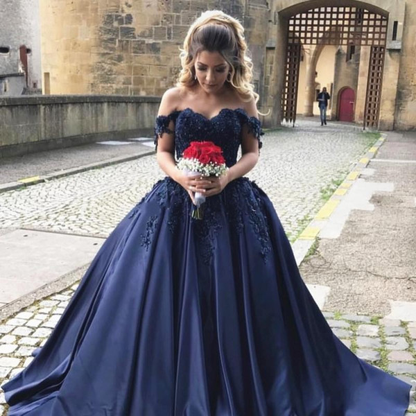 Gorgeous Navy Blue Ball Gown Quinceanera Dresses Off The Shoulder Appliques Satin Beaded Dark Green Sweet 16 Dresses Prom Dresses