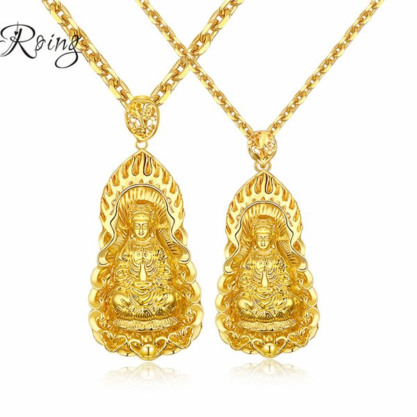 Golden Plated Buddha Pendant Necklaces For Men Indian Buddhism Necklaces Jewelry Chinese Style 610mm KX001