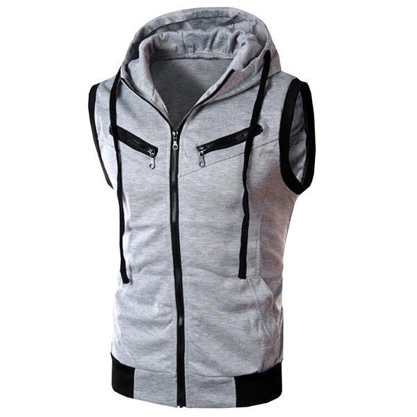 Men Hooded Waistcoat 2018 Fashion Brand Male Sleeveless Jacket Zipper Pocket Gilet Casual Men Vest Plus Size 2XL