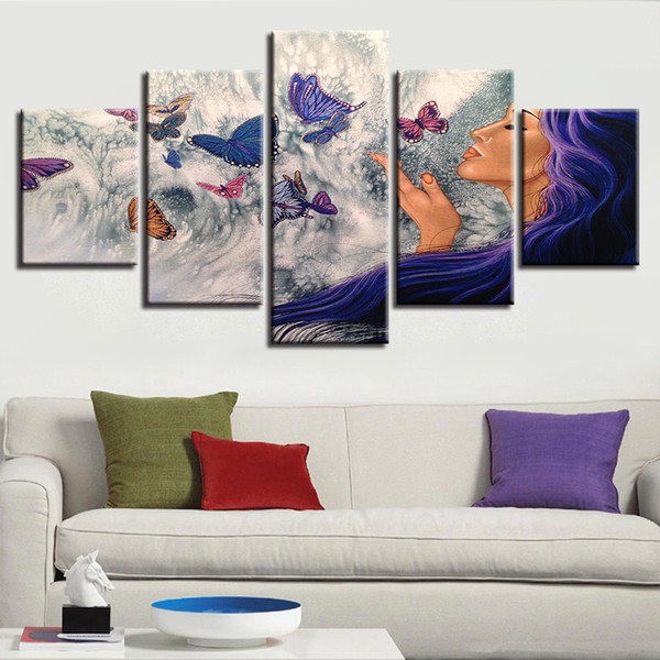 Modular Pictures Canvas Art 5 piezas mujer y mariposa HD Prints Poster Frame Decor Modern Living Room Wall Abstract Paintings