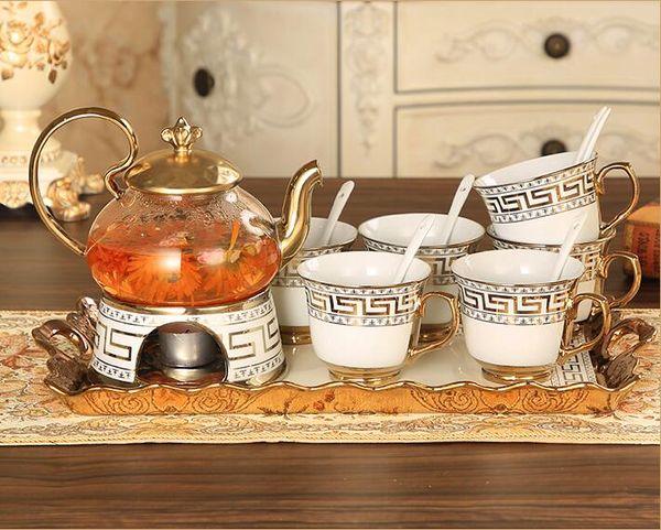 Luxury Drinkware 15 pcs European Ceramic Tea Set Porcelain coffee set Coffee Pot Coffee Jug Cup Saucer set CT008