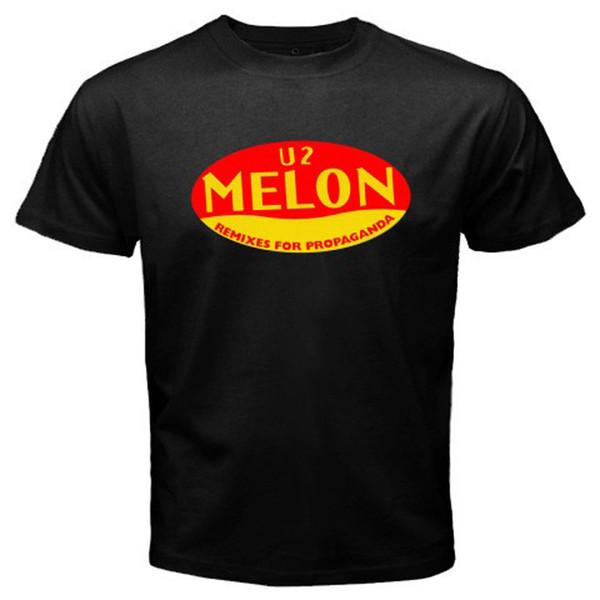 New U2 Melon Remixes For Propaganda Album Men's Black T-Shirt Size S To 3XL T Shirt Men Boy Design Custom Short Sleeve Movie