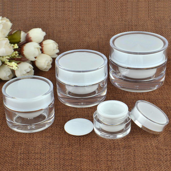 top popular 5 10 15 20 30 50 G ML Empty Clear Upscale Refillable Acrylic Makeup Cosmetic Face Cream Lotion Jar Pot Bottle Container with liners 2021