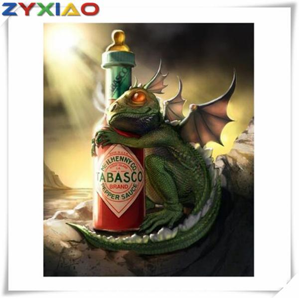 5D Алмаз вышивка животных зеленый дракон diy Алмаз живопись вышивки крестом комплект полный roundsquare Алмаз мозаика home decor подарок игрушка AA0636
