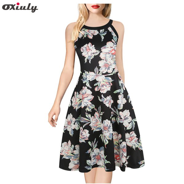Oxiuly Womens Mini A Line Dresses New Arrival Ladies Wear Sleeveless Black Halter Neck Floral Print Vintage Dress