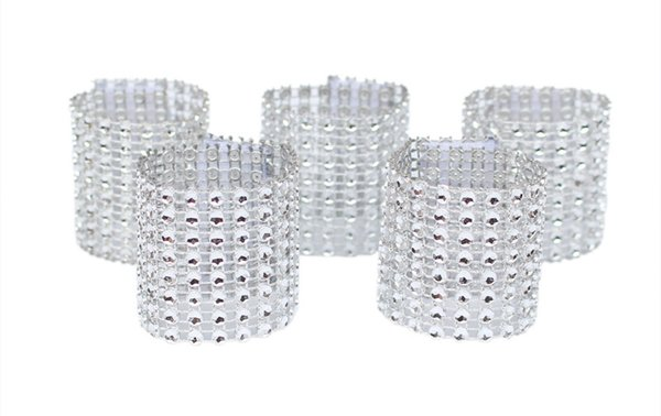 50pcs Gold/Silver Rhinestone Napkin Rings for Wedding Decoration Plastic Chair Sash Bows Napkin Holders Table Deco Accessories