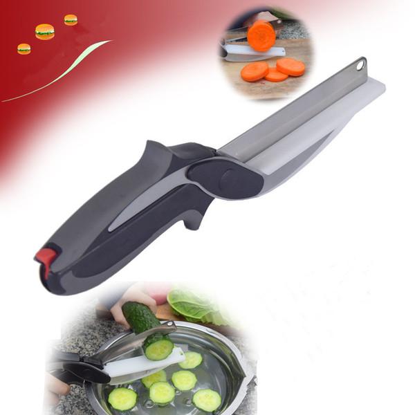 Inteligente cortador 2 en 1 tijeras de cocina de acero inoxidable con cuchilla afilada Cuchilla de corte Cortador de alimentos para carne Vegetal
