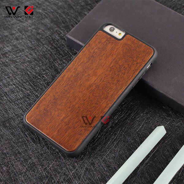 5 Color wood hard PC back cover TPU rubber coating cell phone cases for iPhone 7 8plus 7plus 8 6s plus shockproof design
