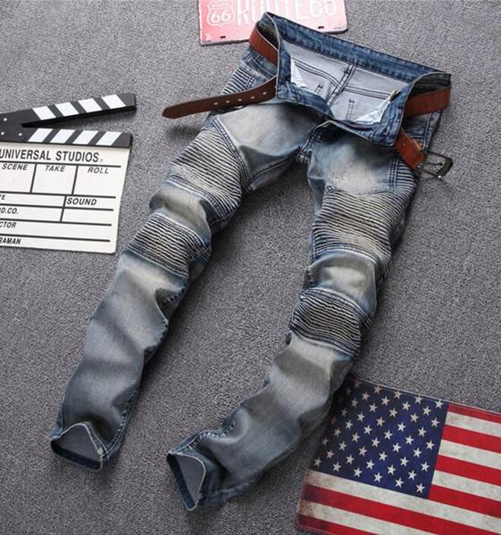 Boot Cut Jeans Pantalons décontractés Hommes Skinny beckham Movie Pattern Patch Design Jeans Denim Jeans Fashion Kanye Streetwear Js15