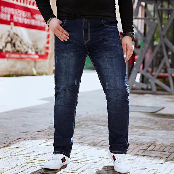 2018 Primavera tamanho grande dos homens jeans MENS gordo cintura elástica jeans cowboy oversize puro movimento masculino