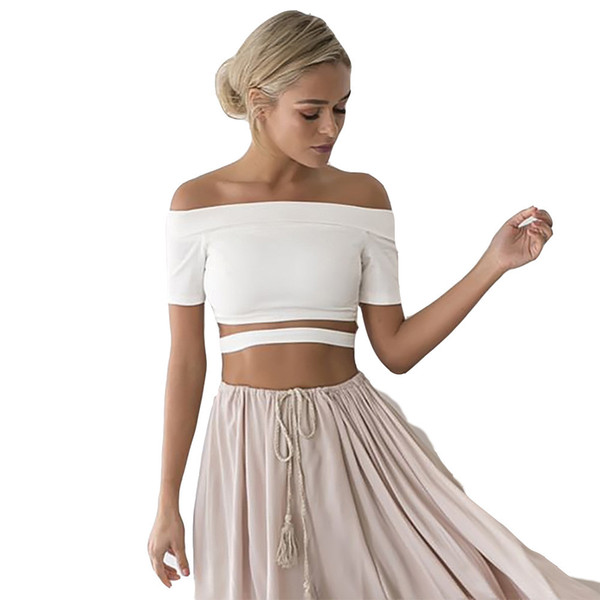 Loneyshow White Off The Shoulder Open Belly Cropped T-shirt Women Summer Short Sleeve Silm Skinny 2018 Short Cotton Top Tee