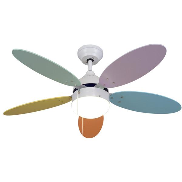Modern simple macaron ceiling lamp with fan kids room bedroom living room Wood fan leaf colorful lamp deco pendant