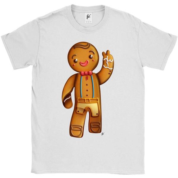 Compre Hombre De Pan De Jengibre Feliz Sonriendo Camiseta Para ...