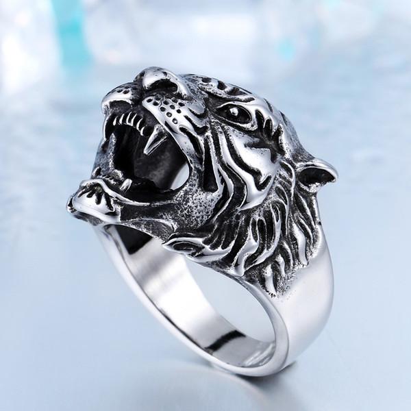 Acciaio inossidabile di alta qualità non svanire mai Tiger Head Men Anelli Punk Animal Shape Ring 7-13 US Size Cool Animals Accessori Jewelry