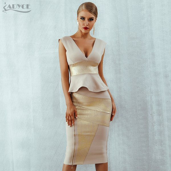 Adyce Ruffles Celebrity Party Dress 2018 New Summer Women Bodycon Set Sleeveless V-Neck Front Zipper Bandage Dress Women Vestido S920