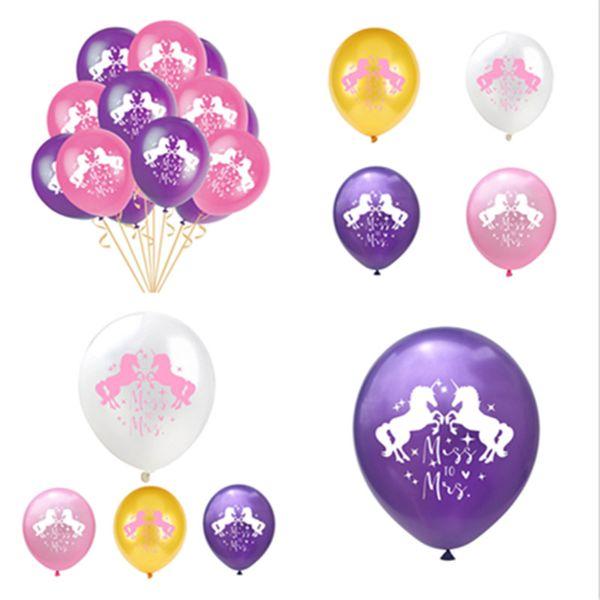 12inch Unicorn Balloons 12 '' Latex Unicornio Child Compleanno Ballons Rifornimenti del partito Matrimonio 2.8g Novità Decor Xmas Capodanno Viola Halloween