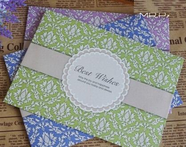 Hot selling 3 color.retro Flower Pattern series envelope. diy fun Gift Envelope.casual style cute promotion kawaii novelty.reta