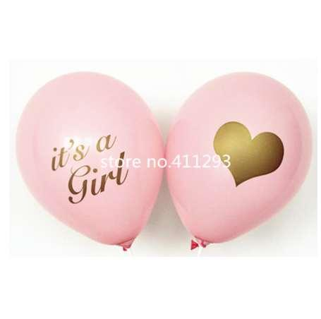 12pcs/lot Baby shower balloon with gold glitter shiny writting its a girl it's a boy oh baby printed light pink blue ballons