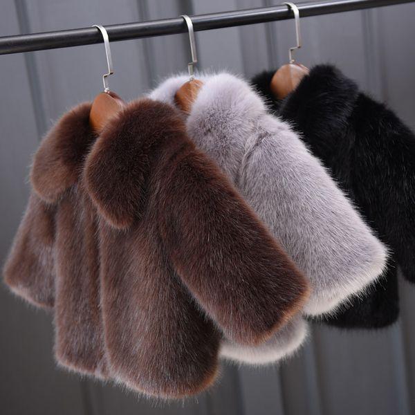 Abbigliamento per bambini per bambini 2018 Più nuovo cappotto per bambini invernali Cappotto in pelliccia sintetica di qualità Heig Toddler Baby Boys Abbigliamento per ragazze Giacche calde invernali 3-8 T
