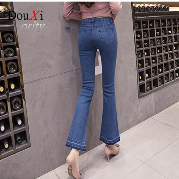 4b221bd9a59 Douxiority Autumn High Waist Flare Jeans Pants Plus Size Stretch Skinny  Jeans Women Wide Leg Slim