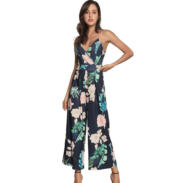 Floral Print Blue Spaghetti Strap Jumpsuit Sleeveless Backless Tie Up Bow Knot Overalls Female Plus Size Wide Leg Pants Trousers