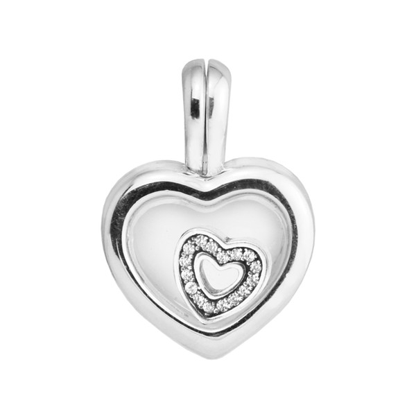 Fits for  Beads Bracelets Floating Heart Locket Charms with Clear CZ 100% Authentic 925 Sterling Silver Jewelry