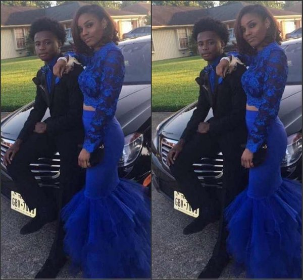 Sexy Sheer Long Sleeves Prom Dresses Mermaid Lace Top Appliques African Black Girls Two Pieces Evening Gowns