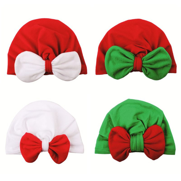 Newborn Infant Baby Winter Velvet Turban Hat Christmas Color Block Big Rabbit Ear Bowknot Beanie Cap Pleated Ruched Stretchy Ear